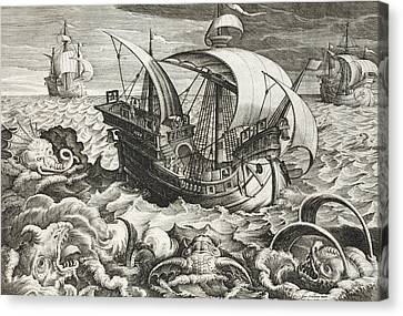 Yachts Canvas Print - Hunting Sea Creatures by Jan Van Der Straet