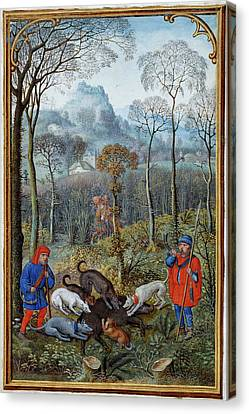 Razorbacks Canvas Print - Hunting Wild Boar by British Library
