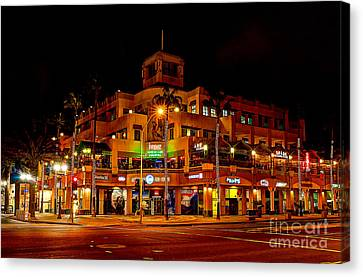 Huntington Beach Downtown Nightside 1 Canvas Print by Jim Carrell