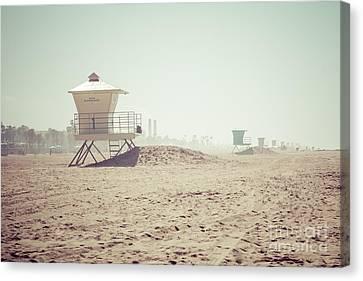Huntington Beach Lifeguard Tower #1 Retro Photo Canvas Print