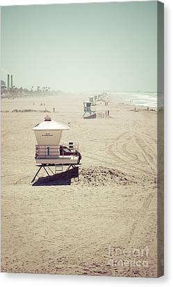 Huntington Beach Lifeguard Tower #1 Vintage Picture Canvas Print