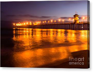 Huntington Beach Pier At Night Canvas Print