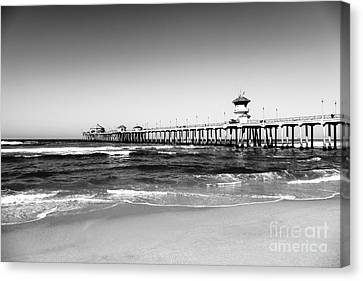 Huntington Beach Pier Black And White Picture Canvas Print by Paul Velgos