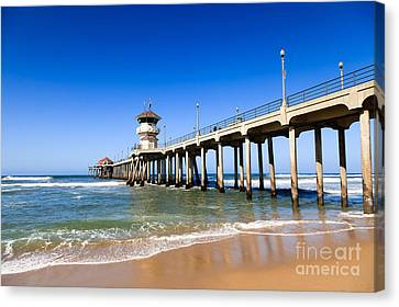 Huntington Beach Pier In Southern California Canvas Print by Paul Velgos