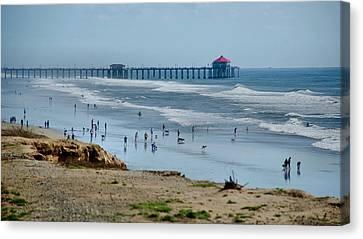 Canvas Print featuring the photograph Huntington Beach Pier by Joseph Hollingsworth