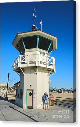 Huntington Beach Pier Lifeguard Tower Canvas Print by Gregory Dyer