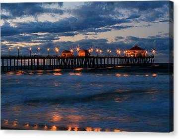Huntington Beach Pier Lights  Canvas Print