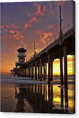 Huntington Beach Pier Canvas Print by Peggy Hughes