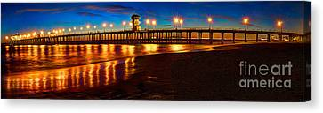 Huntington Beach Pier Twilight Panoramic Canvas Print