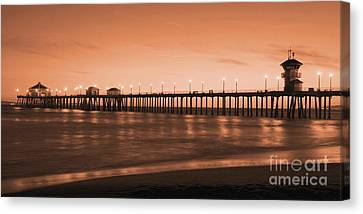Huntington Beach Pier - Twilight Sepia Canvas Print
