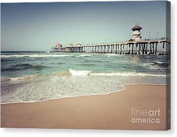 Huntington Beach Pier Vintage Toned Photo Canvas Print