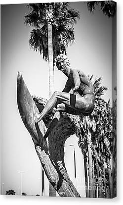 Huntington Beach Surfer Statue Black And White Picture Canvas Print by Paul Velgos