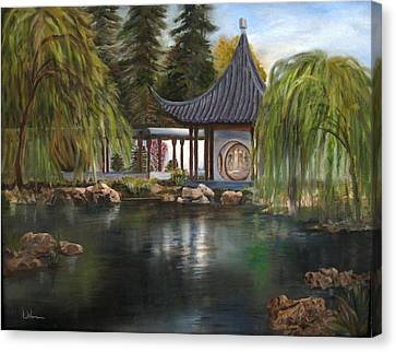 Canvas Print featuring the painting Huntington Chinese Gardens by LaVonne Hand