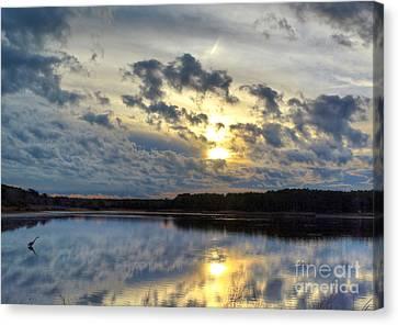 Huntington Sunset Reflection Canvas Print by Kathy Baccari
