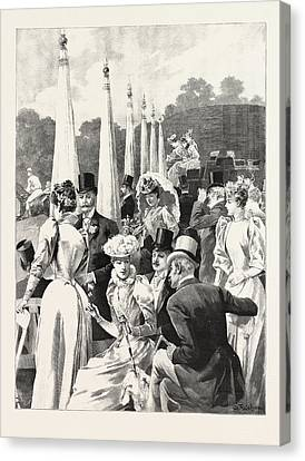Hurlingham In The Season Watching The Pony Racing Canvas Print by English School