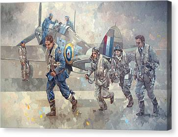 Hurrican Scamble Oil On Canvas Canvas Print by Peter Miller