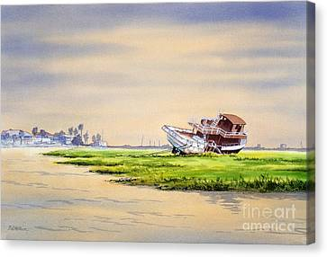 Hurricane Ike Boat Wreck Freeport Texas Canvas Print by Bill Holkham