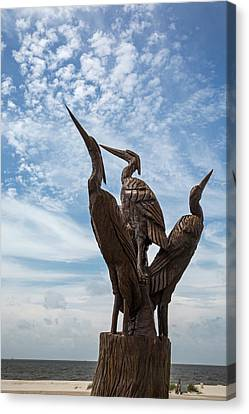 Hurricane Katrina Wood Carving Canvas Print by Jim West