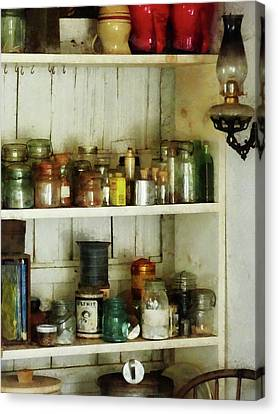 Hurricane Lamp In Pantry Canvas Print by Susan Savad