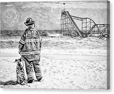 Hurricane Sandy Black And White Canvas Print
