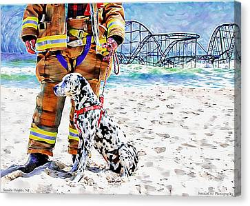 Hurricane Sandy Fireman And Dog  Canvas Print by Jessica Cirz