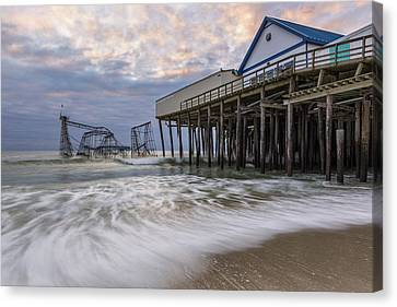 Jetstar Roller Coaster Canvas Print - Hurricane Sandy by Mike Orso
