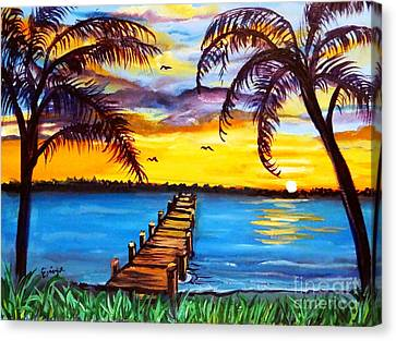 Canvas Print featuring the painting Hurry Sundown by Ecinja Art Works
