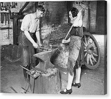 Husband And Wife Canvas Print - Husband & Wife Blacksmiths by Underwood Archives