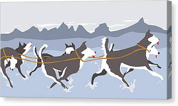 Huskies Canvas Print by Dry Climate Studios