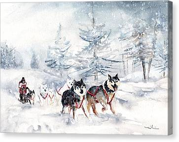 Huskies Sledge Canvas Print by Miki De Goodaboom