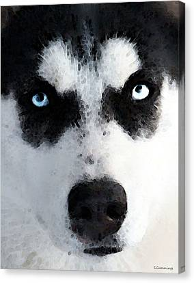 Husky Dog Art - Bat Man Canvas Print by Sharon Cummings