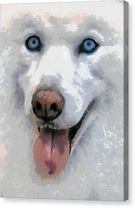 Canvas Print featuring the painting Husky by Georgi Dimitrov