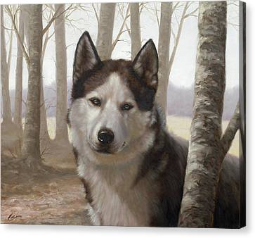 Husky In The Woods Canvas Print by John Silver