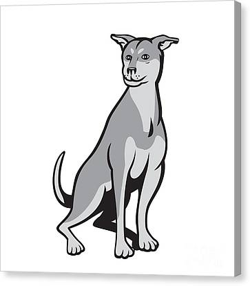 Husky Shar Pei Cross Dog Sitting Cartoon Canvas Print