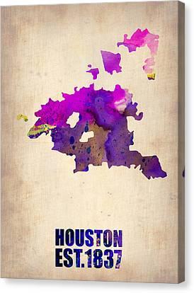 Huston Watercolor Map Canvas Print by Naxart Studio