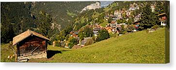 Wengen Canvas Print - Hut With Village In The Background by Panoramic Images
