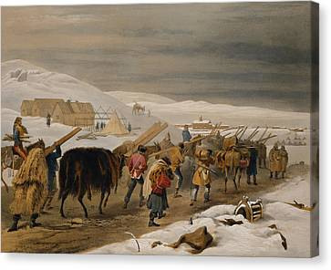 Huts And Warm Clothing For The Army Canvas Print