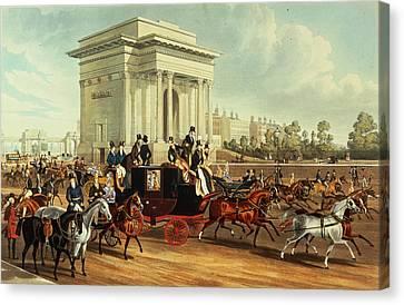 Hyde Park Corner, After James Pollard, Published By Ackermann, 1836 Aquatint Canvas Print by English School