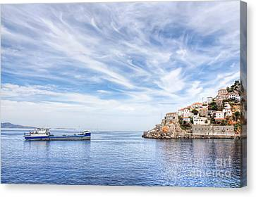 Hydra Island And Ship In Greece Canvas Print
