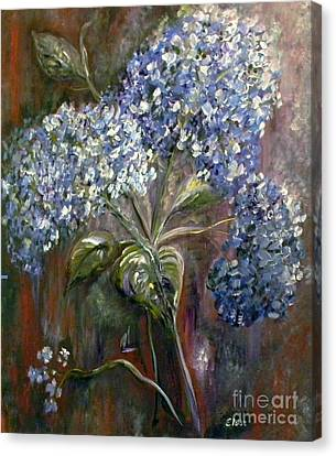 Hydrangea Bouquet At Dawn Canvas Print by Eloise Schneider