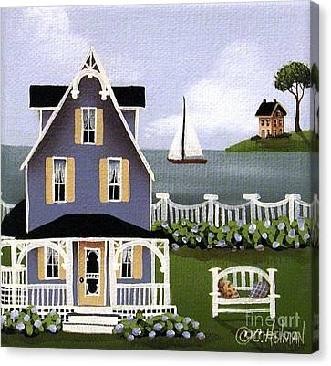 Country Cottage Canvas Print - Hydrangea Cove by Catherine Holman