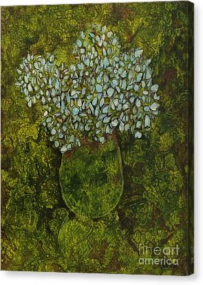 Hydrangea In Green Canvas Print by Michael Ciccotello