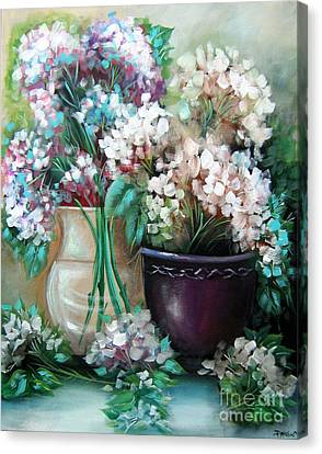 Canvas Print featuring the painting Hydrangea Melody by Patrice Torrillo