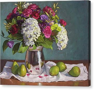 Pink Carnation Canvas Print - Hydrangeas And Pears by Sarah Blumenschein