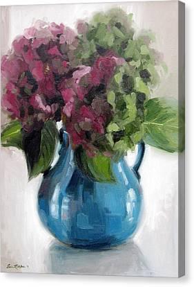 Hydrangeas In Blue Vase Canvas Print