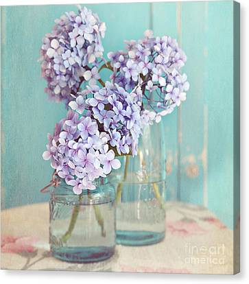 Hydrangeas In Mason Jars Canvas Print