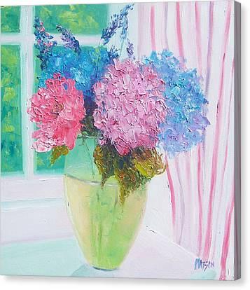 Hydrangeas On A Windowsill Canvas Print by Jan Matson