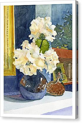Hydrangeas On Mantle Canvas Print
