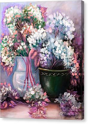 Canvas Print featuring the painting Hydrangeas Still Life Pink by Patrice Torrillo