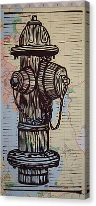 Hydrant On Map Canvas Print by William Cauthern